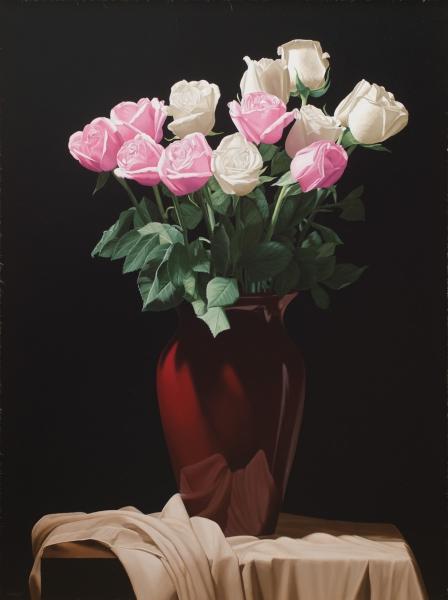 RENATO MEZIAT (1952). Vaso Sangue de Boi com Rosas sobre a Mesa, óleo s tela, 100 X 75. Assinado no c.i.e e datado (2011) no verso