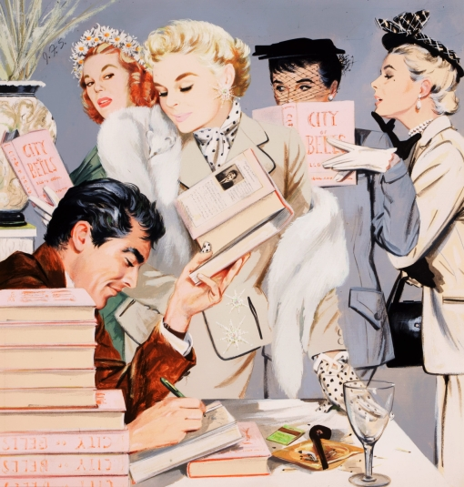 The Book Signing. Collier's Magazine illustration (1950s). J. Frederick