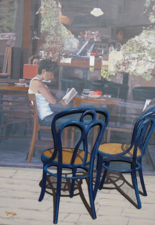 Arie Azene (Israel, 1934) Blue Chairs Cafe, tecnica mista