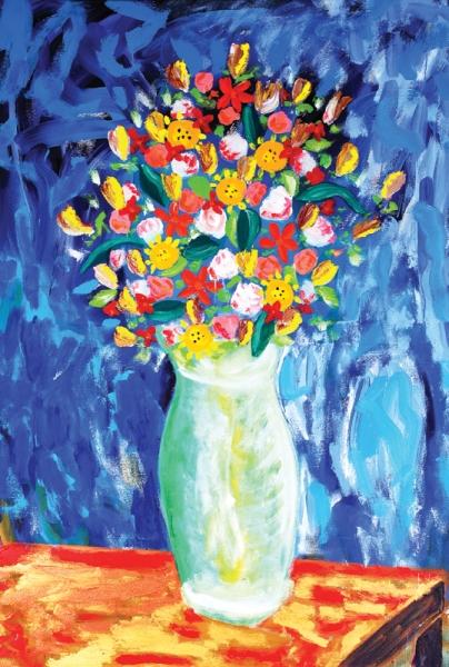 AUGUSTO HERKENHOFF.Vasos de flores, Guignardino, óleo sobre tela, medindo 1.80x1.21. Assinado e datado de 2005 no verso.