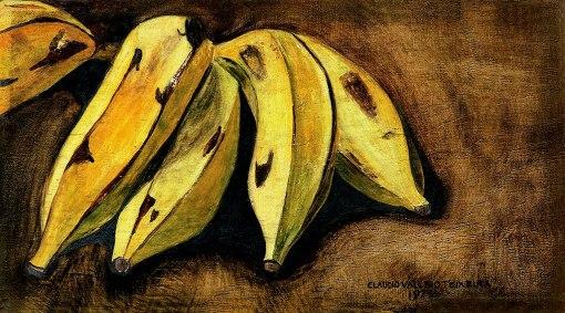 CLÁUDIO VALÉRIO TEIXEIRA, Penca de Bananas,óleo s madeira, ass. e dat. 1979, 14 x 25 cm
