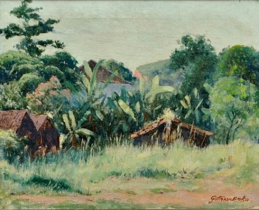 GUTTMAN BICHO, GALDINO (1888-1955). Paisagem com Casinhas Rurais, Bananeiras e Amendoeiras, óleo s tela, 32 X 40. Assinado no c.i.d. Década de 40.