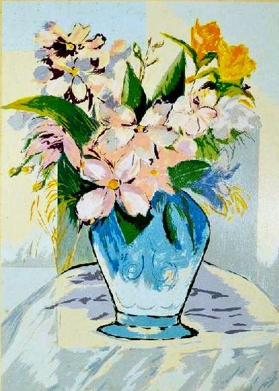 JENNER AUGUSTO - (1924 2003) - Vaso de Flores, litogravura - 90 x 63 cm. Assinado e datado 87 e num. 50-100.