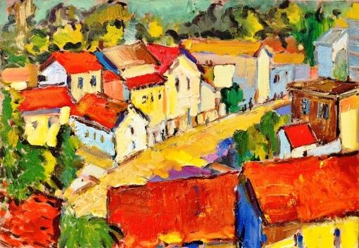 MAURO BANDEIRA DE MELLO (1960). Panorama de Santa Tereza-Rio,ost, 38 x 55. Assinado no c.i.e. e no verso (1996)