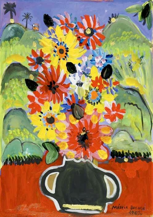 Márcia Brener, Vaso de Flores, 2007, 70 x 50 cm - OST