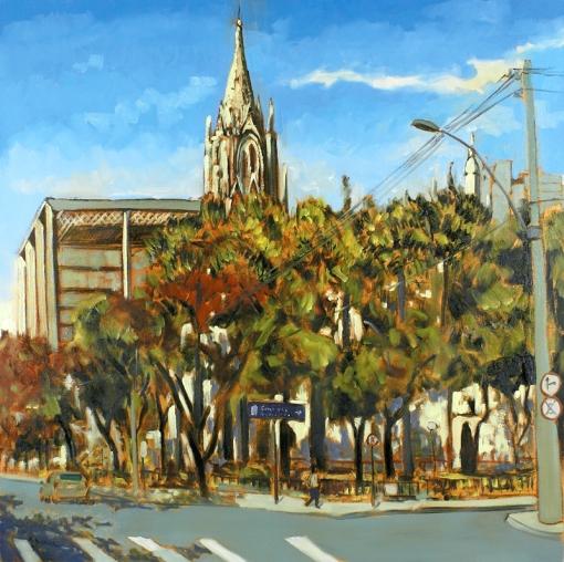 Márcio Schiaz,Basílica de Lourdes – BH,80 x 80 cm – OST,Ass. CIE e Dat. 2007