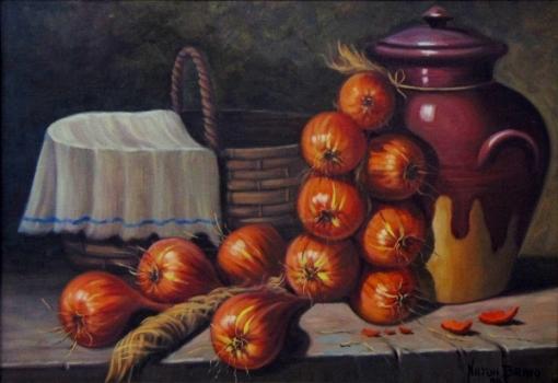 NILTON BRAVO (1937-2005).Mesa com Cebolas, Cesto de Palha e Potiche, óleo s tela, 38 X 54. Assinado e datado (1988) no c.i.d.