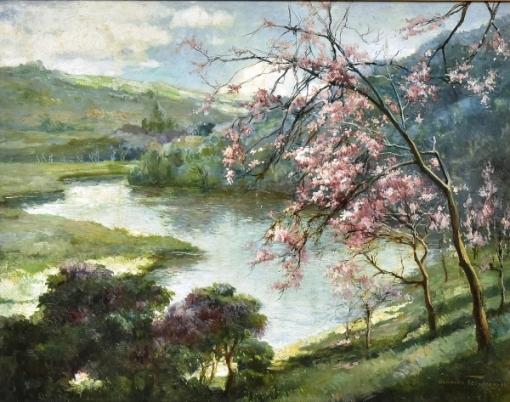 OSWALDO TEIXEIRA (1904-1975). Paisagem com Ipê Roxo nas Margens do Rio Piabanha - Petrópolis, óleo s tela, 64 X 80. Assinado e datado (1943) no c.i.d.