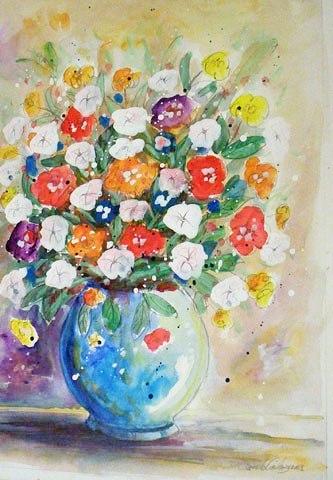 Paulo Calazans (1947)Vaso redondo e flores vermelhasAquarela54 x 38 cm