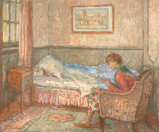 Sands, Ethel, 1873-1962; The Bedroom at Auppegard, France, Girl Reading