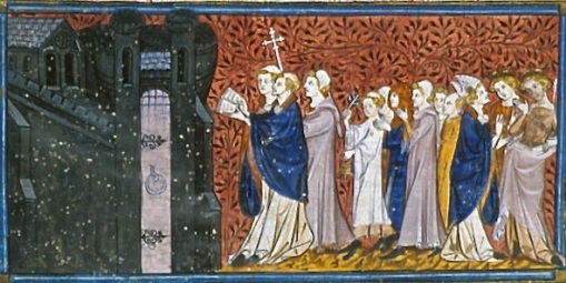 Religious procession at Saragossa, Royal 16 G VI, f. 32v, Chroniques de France ou de St Denis, Paris, after c. 1332