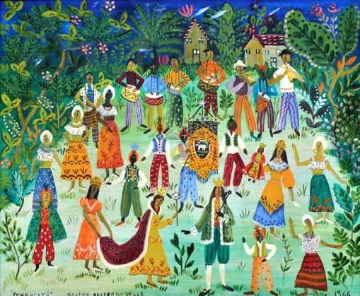 ROSINA BECKER DO VALLE (1914- 2000) - Maracatu em Pernambuco (Folclore Brasileiro),ost, 50 x 62. Assinado no c.i.e. e datado (1966)