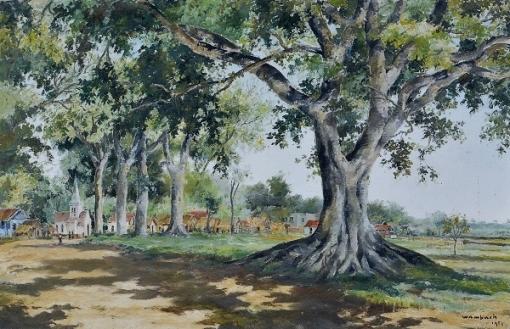 WAMBACH, Georges (1902 - 1965) Paisagem com casario, o.s.t. - 65 x 100 cm. Ass. e dat 1943