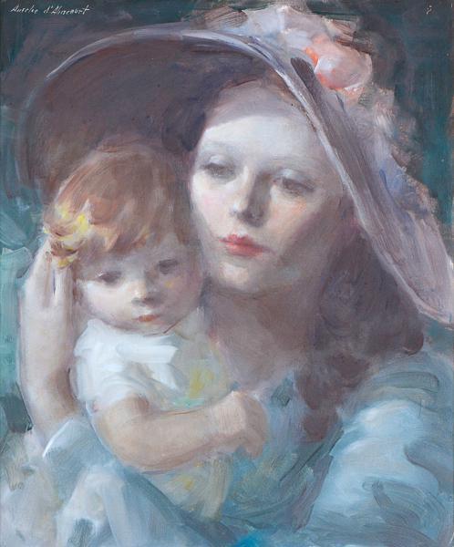 AURELIO D'ALINCOURT (1919 - 1990)Maternidade, óleo sobre chapa de madeira industrializada - 45 x 37 cm. Ass.