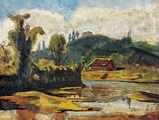 BONADEI, Aldo,Paisagem,óleo s cartão,(década de 1940)37 x 48 cm