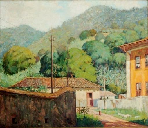 Casimiro Ramos Filho (Brasil, 1905,1975) Paisagem com casario e lavadeira no Andaraí, RJ,1947, ost,65x75