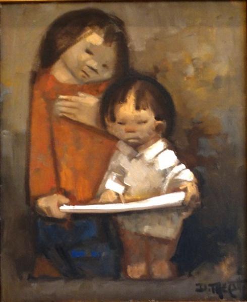 DARIO MECATTI. Crianças - o.s.t. - 46 x 38 cm - assinado no cid