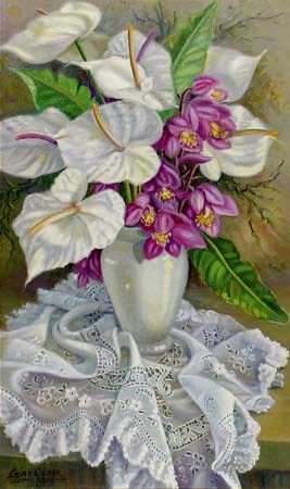 Emira Cadar - Antúrios Brancos e Simbídios,ost,100x60 cm