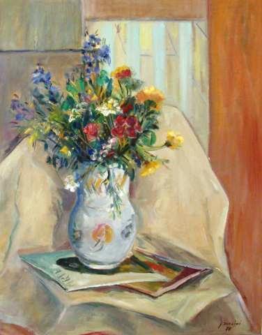 Giancarlo Zorlini (Brasil,1931)Vaso com flores,1978,ost,60x 50 cm