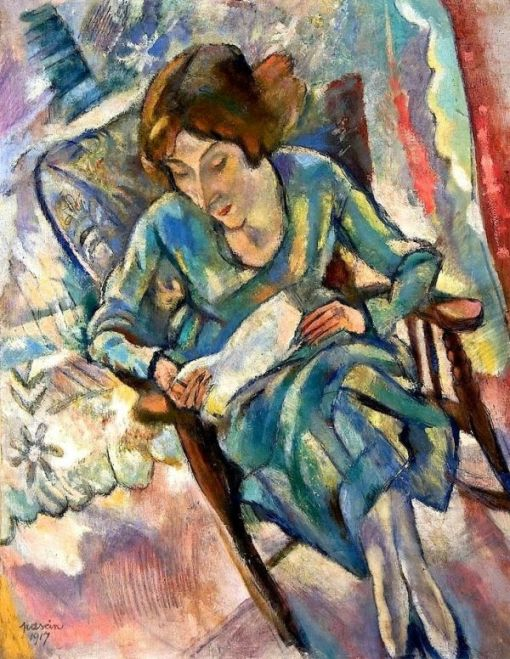 Girl in Green Reading (1917). Jules Pascin (Bulgarian, 1885-1930). Oil on canvas. The Barnes Foundation.