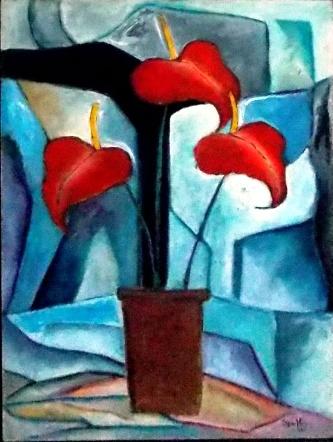 I. SPELTRI, Vaso de antúrio - Óleo sobre papel - 70x50 cm - ACID 1988
