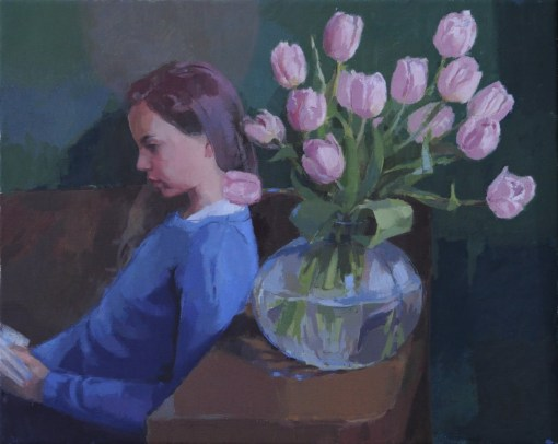 Ilaria Rosselli del Turco,(Italia, 1967) Girl Reading With Tulips, an oil on linen, 51x64cm