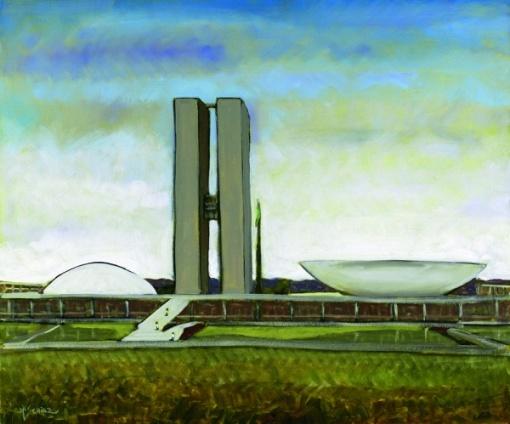 Márcio Schiaz - Congresso Nacional - Dia - 50 x 60 cm - OST - Ass. CIE e Dat. 2007