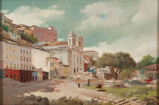 ORESTE SERCELLI (Florença, Itália, 1867 - São Paulo, 1927) - Vista de Salvador. ost, 1912. 37 x 55 cm