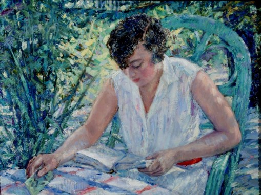 RUDOLF TEWES (GERMAN 1878-1964). WOMAN SEATED IN A GARDEN. 1926, 49 x 64 cm osplaca