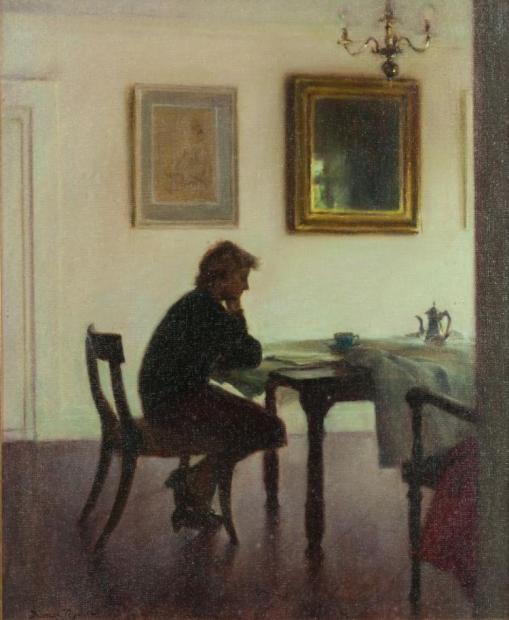 Thomas Ryan PPRHA (b.1929) Leitora- Mary lendo jornal na sala de jantar, osplaca, 64 x 53cm, 1986