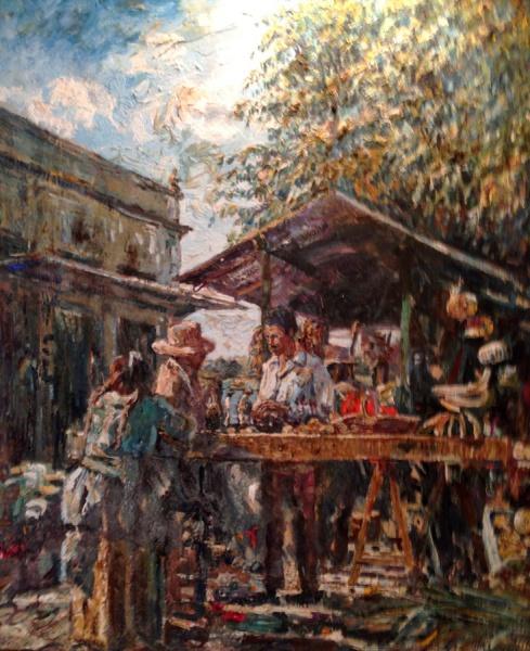 WILLEM LEENDERT VAN DIJK- MERCADO PARANAGUÁ-O.S.T ASSINADO C.I.D E NO VERSO,DATADO 1955. Med sem mold 53 cm de altura x 55 cm de largura