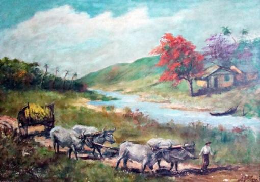 Alfredo Volpi- Cena Rural produzido em meados da década 20, óleo sobre tela, medindo 50cmx71cm, assinado no canto inferior direito