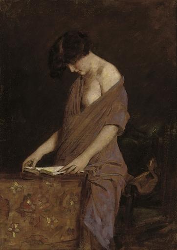 Armin Glatter (Hungria, 1861-1916), A leitora, ost, 70 x 50cm