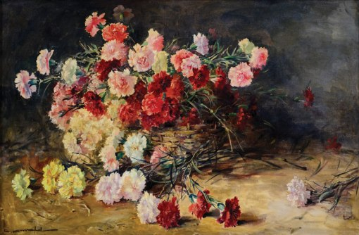 CARLOS OSWALD (1882-1971)Cesto de palha com cravos,ost, 60 x 90.