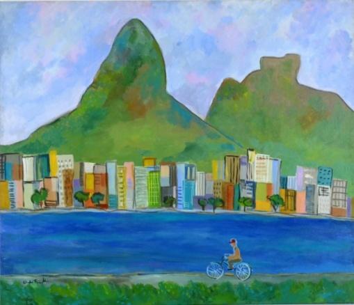 CLAUDIO FACCIOLLI Lagoa  tinta acrílica sobre tela, 120 x 136 cm. Assinado no canto inferior esquerdo. No verso, titulado, assinado, localizado e datado, Rio de Janeiro, 2014.