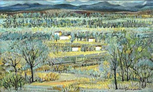 GEZA HELLER (1902 - 1992) Paisagem campestre com casas, o.s.m. - 20 x 33 cm. Assinado e datado 1971