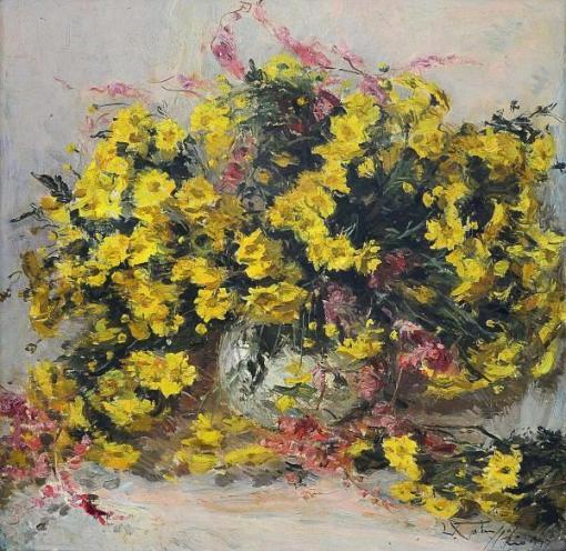 GOTUZZO, Leopoldo (1887 - 1981)Vaso com flores, o.s.t. 60 x 60 cm. Assinado.