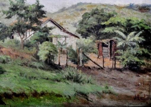 J. BASTOS - Paisagem com casas óleo sobre tela, 33.5X46.5cm.