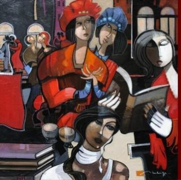 Jean-Louis Mendrisse (born in Paris 1955)Soirée littérairehuile sur toile 100x100cm; 37njk.
