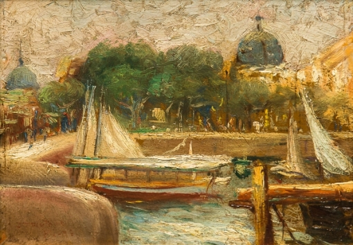 JOÃO TIMÓTEO DA COSTA (1879-1932). Barcos Atracados no Cais Pharoux-Rio, óleo s madeira, 17 x 23. Assinado, datado (1904) e localizado (Rio) no c.i.e.