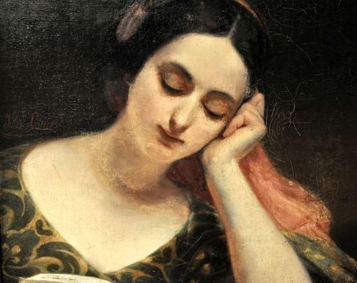 Jules Laure (França, 1806-1861), A hora da leitura, óleo sobre tela, 55 x 46cm