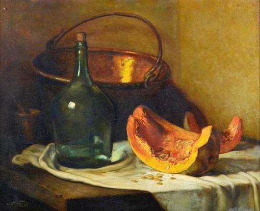 MANOEL Constantino (1899 - 1976) Garrafão e tacho sobre a mesa, o.s.m. - 60 x 73 cm. Ass. dat. 1952 e localizado Rio