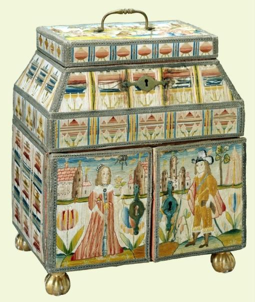 Needlework casket. Silk needlework, English , late 17th century. Courtesy Royal Collection Trust (C) Her Majesty Queen Elizabeth II 2013