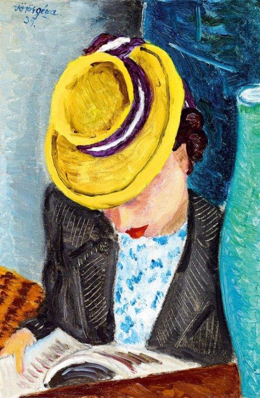 Voros Geza(Hungria,1897-1957) De chapeu amarelo, 1939,36 x 24 xm oleo sobre papelão,
