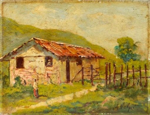ALFREDO VOLPI - Casario com figura, O.S.M, assinado no canto inferior direito. Década de 30. Med. 14x18,5 cm.