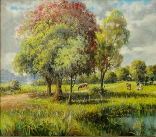 ATHAYDE D'AVILA (BRASIL-1900) - O Remanso,ost, 80 x 100 Assinado, 1954