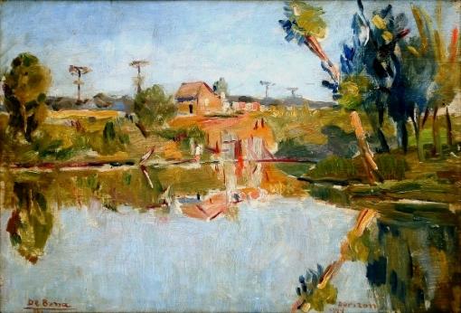 DE BONA, THEODORO (1904 - 1990). Paisagem com Dia de Sol em Dorizon - Paraná, óleo s madeira, 20 X 29. Assinado no c.i.e. e datado (1944) e localizado (Dorizon) no c.i.d.