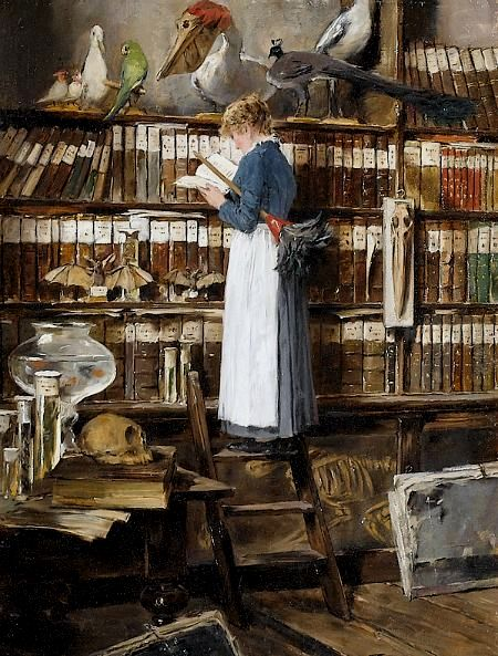 Edouard John Mentha Late 19th-early 20th centuryMaid Reading in a Library
