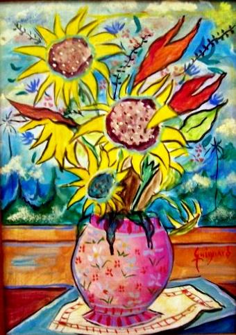 GUIGNARD, Vaso de Flores, óleo sobre madeira, 30 X 22 cm.