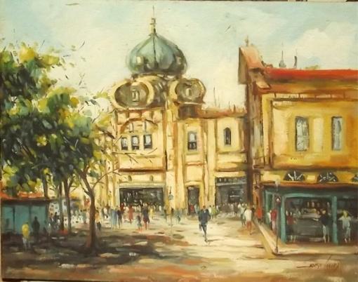 Jorge Vieira - Óleo sobre tela de juta Praça XV med. 1,00 x 80 cms
